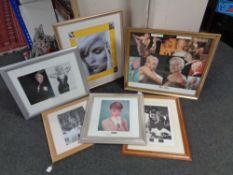 Six framed of Marilyn Monroe and Audrey Hepburn pictures
