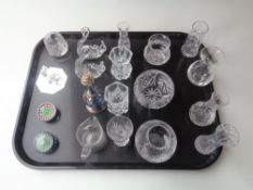 A tray of assorted glass ware, Stuart crystal vases, Swarovski bird figure,