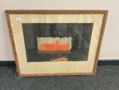 Continental school : A colour print depicting a choir, 74 cm x 63 cm, indistinctly signed in pencil,