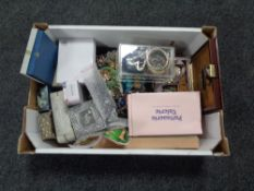 A box of metal embossed jewellery boxes,