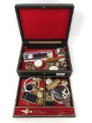 A jewellery box of costume jewellery, Colibri lighter,