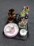 A tray containing antique and later china to include Staffordshire figures,