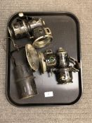 Two vintage bicycle lamps and a miner's lamp (3)