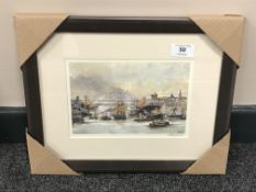 After Tom MacDonald : The Tyne at Newcastle upon Tyne, reproduction in colours, signed in pencil,