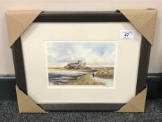 After Tom MacDonald : Bamburgh Castle, reproduction in colours, signed in pencil, 13 cm by 18 cm,