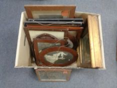 A box containing antique and later Continental etchings, framed photographs etc.