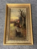 Continental school : A lady carrying sticks, oil on canvas, 19 cm x 39 cm, indistinctly signed,