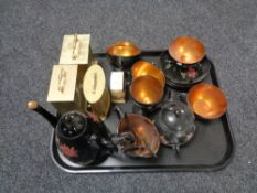 A tray of oriental lacquered tea china,