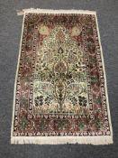 A silk Isfahan rug of Tree of Life design,