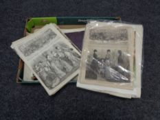 A box of antique and later Newspaper cuttings and prints