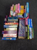 Three boxes of board games, Monopoly, Who Wants to be a Millionaire, Harry Potter books,