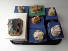 A tray of seven boxed Lilliput lane cottage ornaments