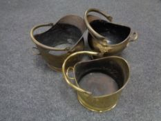 Three antique and later brass coal buckets