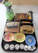 A tray of miscellania including Ringtons die cast cars, Maling vase, Beswick dish,