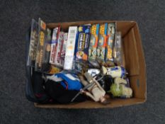 A box of assorted Star Wars toys, figures, jigsaws,