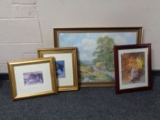 Two framed prints depicting shire horses together with a further gilt framed print of shire horses