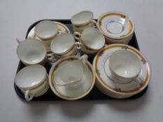 A tray containing approximately 37 pieces of antique Crescent tea china.