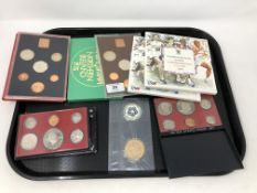 A tray of British and American proof coins sets,