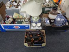 Three boxes containing assorted china to include table lamp with shades,