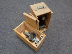 Two cased vintage microscopes (Af)