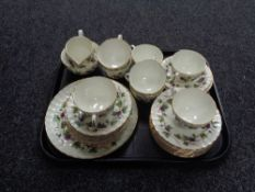 A tray containing 27 pieces of Royal Worcester Bacchanal leaf patterned tea china.