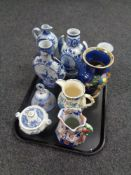 A tray containing assorted china to include Delft vases, Mason's regency jug,