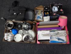 Three boxes of assorted electricals, 5.