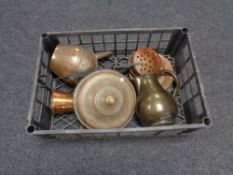 A box of antique and later copper ware, chestnut roaster,