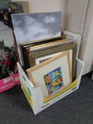 A box of a large quantity of assorted framed prints and wall canvases,