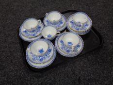 Six Minton Hardwicke Hall china trios.