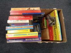 A box of vintage board games, Larry the Lamb, International detective, Union Pacific,