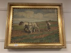 Continental school : A study of horses in a field, oil on canvas, 56 cm x 42 cm,