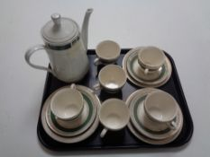 A tray containing 17 pieces of Crown Ducal tea china together with similar teapot.