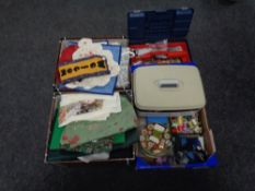Three boxes containing sewing threads, zips, material etc.
