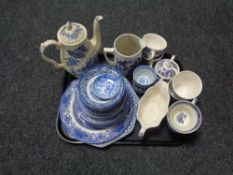 A tray of Staffordshire Ironstone tea china and other blue and white porcelain