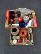 Two boxes of 1970's glassware, West German vase, beer stein,