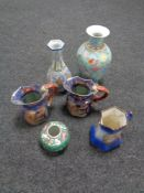 A tray of assorted Oriental style ceramic vases and jugs together with one further transfer printed