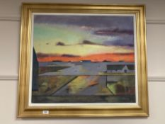 Continental school : Cottages at sunset, oil on canvas, 69 cm x 59 cm, indistinctly signed, framed.