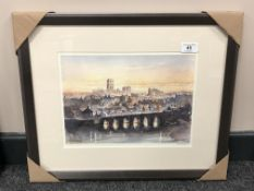 After Tom MacDonald : Old Durham, reproduction in colours, signed in pencil, 21 cm by 30 cm, framed.