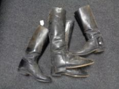Two pairs of vintage leather riding boots