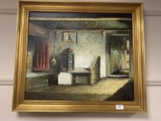 Continental school : A cottage interior, oil on canvas, 59 cm x 49 cm, indistinctly signed, framed.