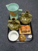 A tray of china, Portmeirion, Brentleigh ware vase,