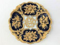 A 20th century Meissen cobalt blue and gilt plate,