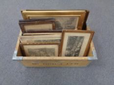 A crate containing antique and later black and white and colour etchings etc
