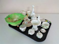 A tray of assorted cabinet china, Wedgwood and Aynsley vases, cabbage leaf salad bowl with servers,