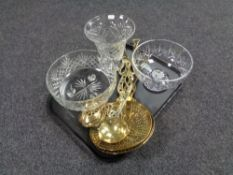 A tray containing cut glass lead crystal fruit bowls and vases together with antique brass horse