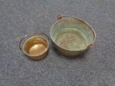 Two brass cast iron handled jam pans