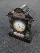 An Edwardian black slate mantel clock