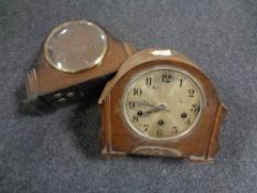 A 1930s oak cased mantel clock together with a walnut cased Art Deco mantel clock (A/F).