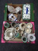 Two boxes of English pottery jugs and vases, two duck ornaments,